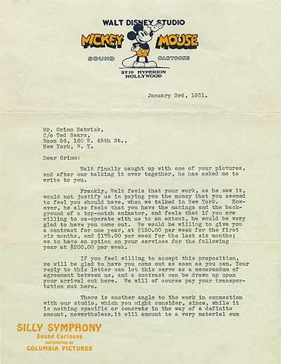 Grim Natwick Letter